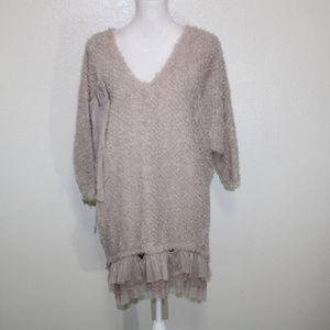NWOT RYU Fuzzy Dolman Sleeve Ruffles Sweater